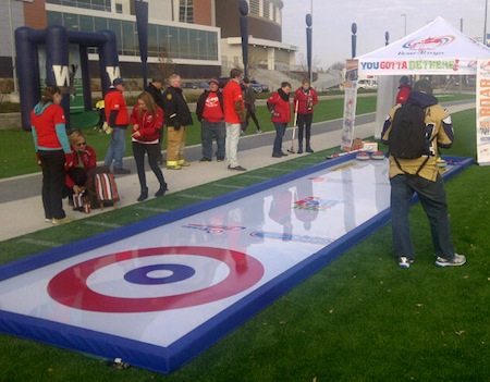 The new Street Curling unit is portable and will be appearing at various Season of Champions host cities this season. (Photo, courtesy Tim Hortons Roar of the Rings host committee)