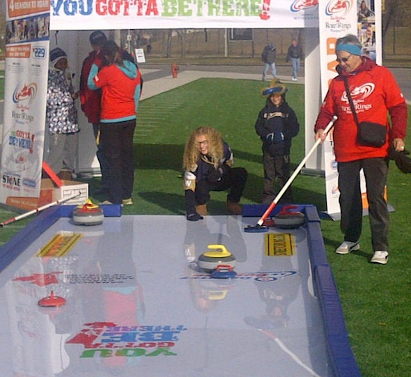 The CCA's new Street Curling game made its debut in Winnipeg this past weekend at a Blue Bombers game. (Photo,