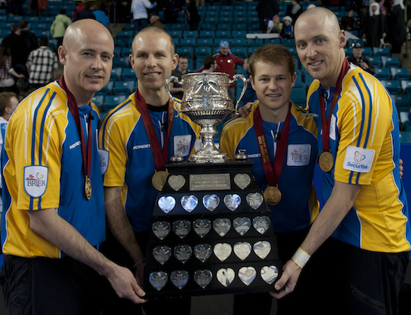Team Alberta, 2014 Tim Hortons Brier champions, from left, Kevin Koe, Pat Simmons, Carter Rycroft and Nolan Thiessen. (Photo, CCA/Michael Burns)