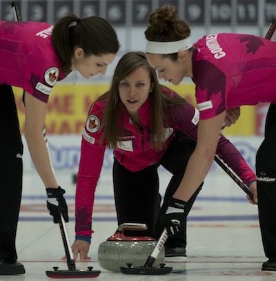 Skip Rachel Homan, centre, with teammates Lisa Weagle, left, and Joanne Courtney. (Photo, CCA/Michael Burns)