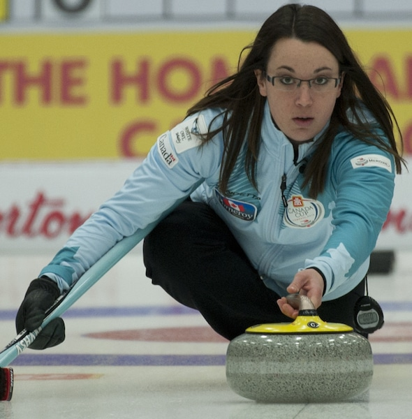 Edmonton's Val Sweeting delivers her rock during Saturday's semifinal victory. (Photo, CCA/Michael Burns)