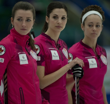 Emma Miskew, Lisa Weagle and Joanne Courtney check out the situation during the final. (Photo, CCA/Michael Burns)
