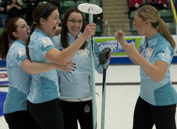 Team Sweeting, from left, Dana Ferguson, Rachelle Brown, Val Sweeting and Lori Olson-Johns celebrate their win on Sunday. (Photo, CCA/Michael Burns)
