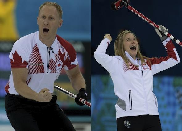 Champions olympiques Brad Jacobs, à gauche, et Jennifer Jones sont dirigés à Camrose pour la Coupe Canada de curling de 2014, présenté par Meridian. (Photos, ACC / Michael Burns)