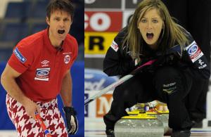 Thomas Ulsrud de la Norvège, à droite, et Écossaise Eve Muirhead feront partie de l'équipe de l'Europe à la Coupe Continental WFG 2015 à Calgary. (Photos, ACC / Michael Burns)
