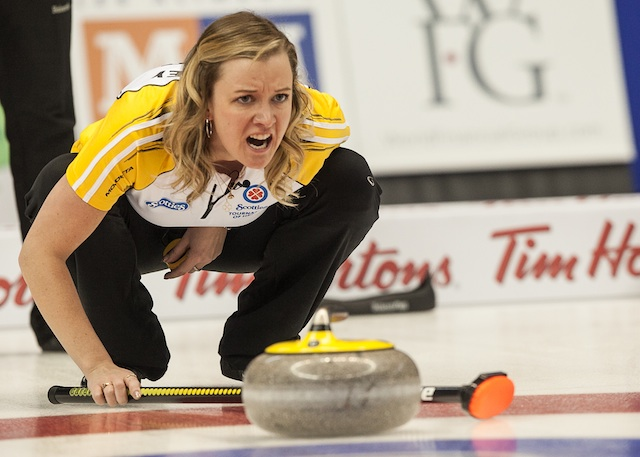 Manitoba Chelsea Casey in the Bronze medal game, 2014 Scotties Tournament of Hearts
