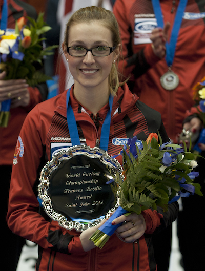 Alison Kreviazuk of Team Canada won the Frances Brodie Award for sportsmanship. (Photo, CCA/Michael Burns)