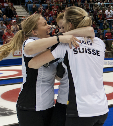 Swiss players celebrate their gold-medal victory. (Photo, CCA/Michael Burns)