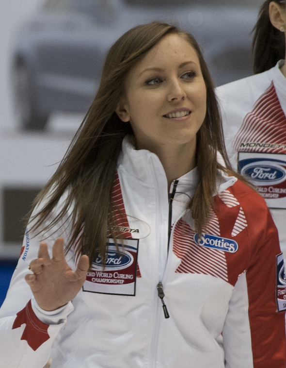 Team Canada skip Rachel Homan waves to the crowd after her team's win on Tuesday. (Photo, CCA/Michael Burns)