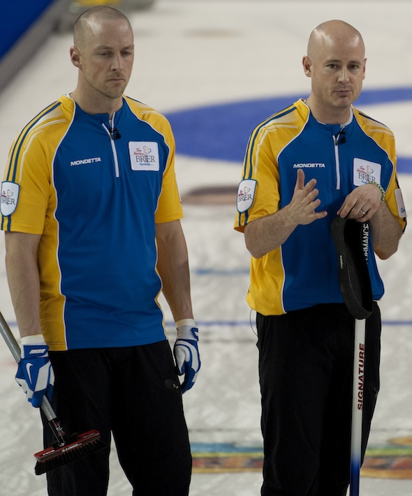 Nolan Thiessen, left, and Kevin Koe won a Canadian championship together last March, but this coming season they'll be on different teams, both hoping for a second straight win at the Tim Hortons Brier. (Photo, CCA/Michael Burns)