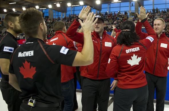 Team Canada had plenty to celebrate about during the 2015 World Financial Group Continental Cup in Calgary. (Photo, CCA/Michael Burns)