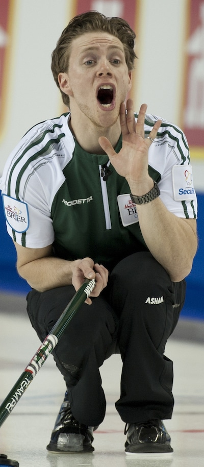 P.E.I. skip Adam Casey shouts instructions to sweepers during his win on Saturday afternoon. (Photo, Curling Canada/Michael Burns)