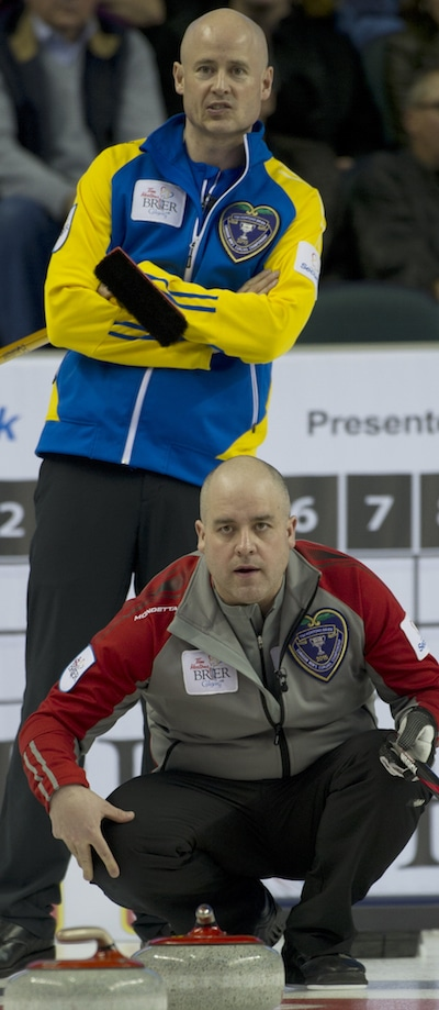 The Koe brothers, Kevin (top) and Jamie, went head to head on Wednesday night at the Tim Hortons Brier. (Photo, Curling Canada/Michael Burns)