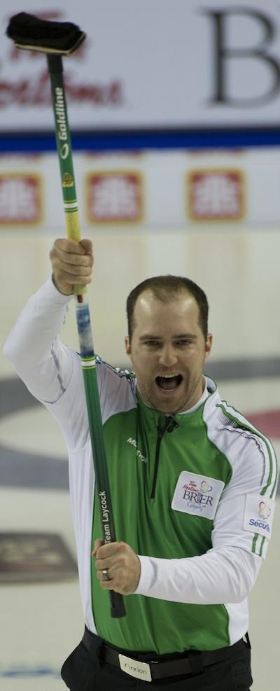 Saskatchewan's Steve Laycock celebrates his game-winning shot against Alberta. (Photo, Curling Canada/Michael Burns)
