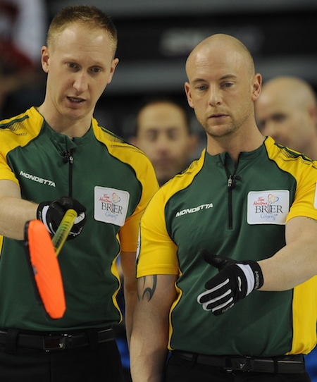 Northern Ontario's Brad Gushue, left, and Ryan Fry discuss shot options on Sunday. (Photo, Curling Canada/Michael Burns)