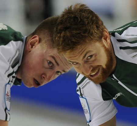 Robbie Doherty, left, and Anson Carmody of Team Prince Edward Island. (Photo, Curling Canada/Michael Burns)