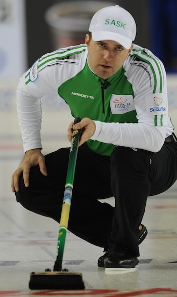 Saskatchewan skip Steve Laycock watches his shot. (Photo, Canadian Curling/Michael Burns)