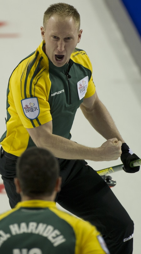 Northern Ontario skip Brad Jacobs celebrates his shot for three in the fifth end. (Photo, Curling Canada/Michael Burns)