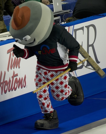 Slider had the fans revved up on Saturday at the Scotiabank Saddledome. (Photo, Curling Canada/Michael Burns)