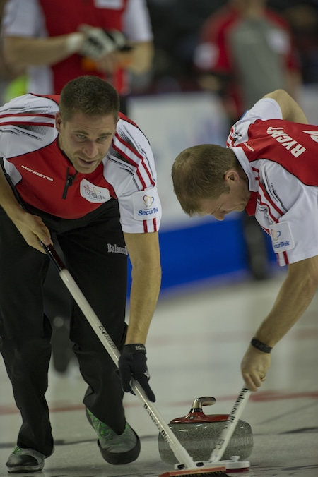 John Morris, left, shows his sweeping skills with teammate Carter Rycroft. (Photo, Canadian Curling/Michael Burns)