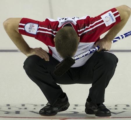 Newfoundland/Labrador skip Brad Gushue shows his dismay at a missed shot on Saturday night. (Photo, Curling Canada/Michael Burns)