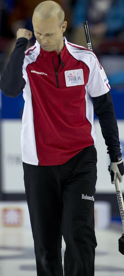 Team Canada skip Pat Simmons is pumped after winning Saturday night's semifinal. (Photo, Canadian Curling/Michael Burns)