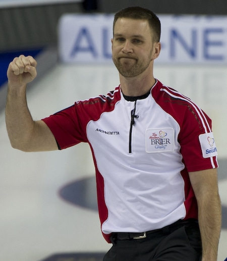 Newfoundland/Labrador skip Brad Gushue celebrates his win on Tuesday. (Photo, Curling Canada/Michael Burns)