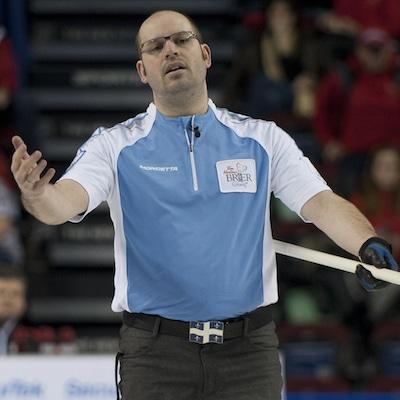 Quebec skip Jean-Michel Ménard shows his frustration. (Photo, Curling Canada/Michael Burns)