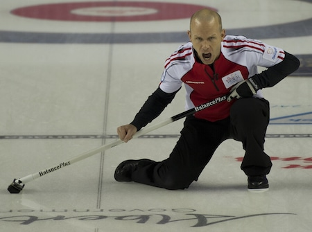 2015, Calgary Ab, Tim Hortons Brier, Team Canada skip Pat Simmons, Curling Canada/michael burns photo
