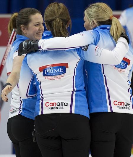 Grande Prarie AB, Dec 5, 2015, Home Hardware Canada Cup Curling, Team Sweeting, second Dana Ferguson, third Lori Olson-Johns, lead Rachelle Brown, Team Middaugh skip Sherry Middaugh, Curling Canada/ michael burns photo