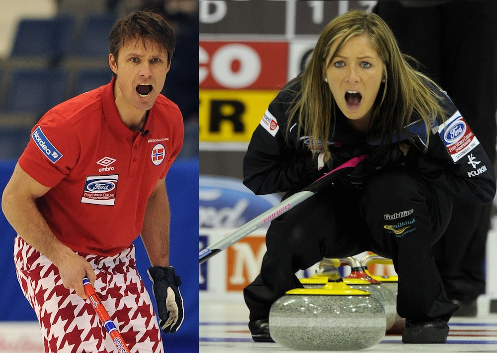 Norway's Thomas Ulsrud, right, and Scotland's Eve Muirhead will be part of Team Europe at the 2015 WFG Continental Cup in Calgary. (Photos, CCA/Michael Burns)