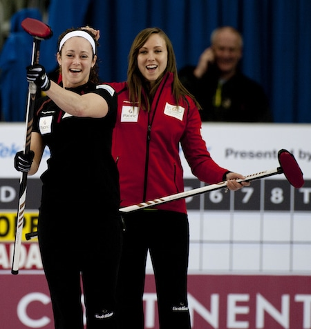 Team Canada's Joanne Courtney and Rachel Homan celebrate a made shot. (Photo, CCA/Michael Burns)