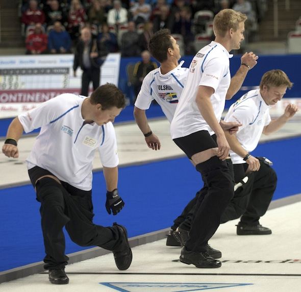 Team Ulsrud was in a dancing mood on Saturday night. (Photo, CCA/Michael Burns)