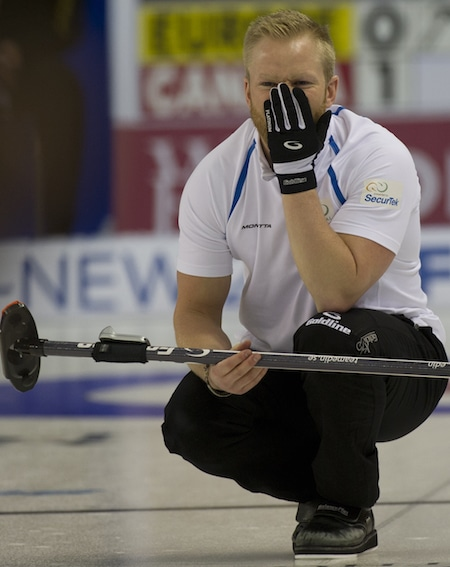 Team Europe skip Niklas Edin doesn't like what he's seeing. (Photo, CCA/Michael Burns)
