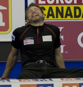 Mike McEwen, meanwhile, was sitting down on the job. (Photo, CCA/Michael Burns)