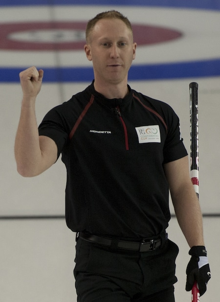 Team Canada skip Brad Jacobs picked up a win on Thursday morning in Calgary. (Photo, CCA/Michael Burns)