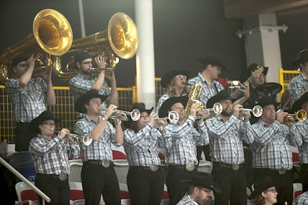 The Calgary Stampede Band of Outriders entertained fans at the Markin MacPhail Centre. (Photo, CCA/Michael Burns)