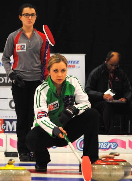 Saskatchewan skip Kristen Streifel assesses the situation in her win on Monday. (Photo, Amanda Rumboldt)