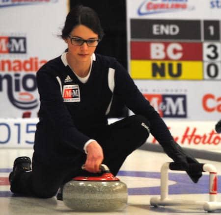 Nova Scotia skip Mary Fay delivers rock in her team's win over Saskatchewan. (Photo, Amanda Rumboldt)