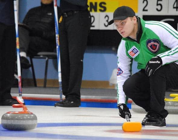 Saskatchewan skip Jacob Hersikorn is headed to the Championship Round at the 2015 M&M Meat Shops Canadian Juniors. (Photo, Amanda Rumboldt)