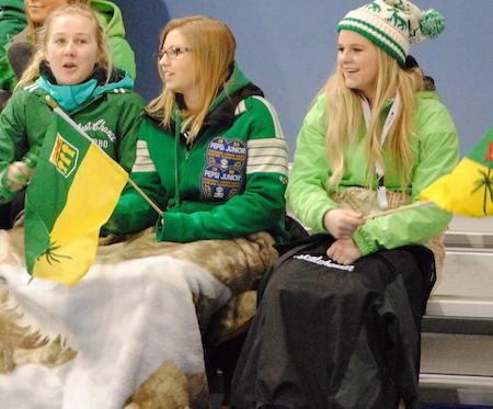 Saskatchewan fans cheer on their team on Tuesday. (Photo, Amanda Rumboldt)