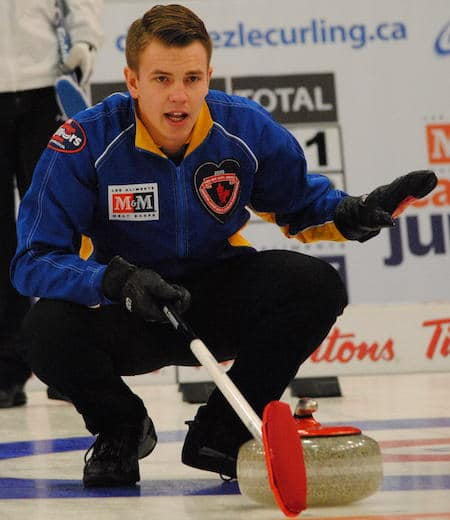 Alberta skip Karsten Sturmay gives direction to his teammates. (Photo, Amanda Rumboldt)