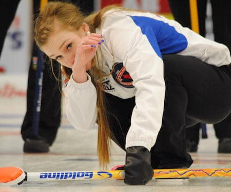 B.C. skip Corryn Brown watches her shot. (Photo, Amanda Rumboldt)