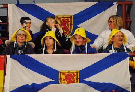 Nova Scotia fans cheer on Mary Fay's team on Thursday night. (Photo, Amanda Rumboldt)