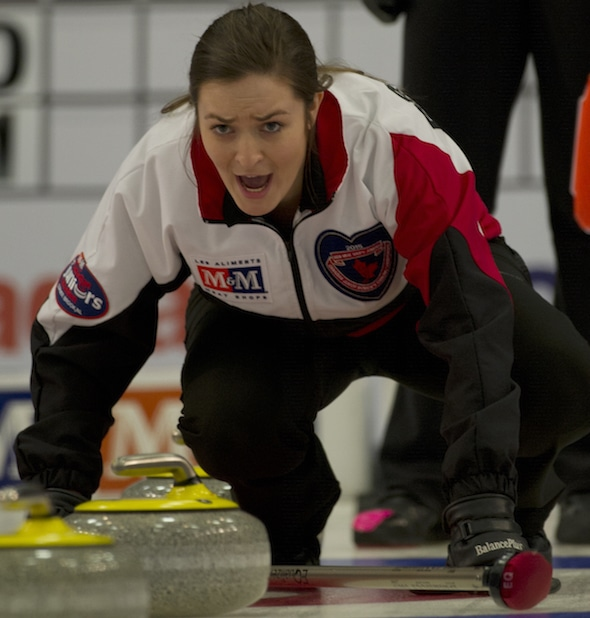 Ontario skip Chelsea Brandwood instructs her sweepers during Saturday's semifinal. (Photo, CCA/Michael Burns)