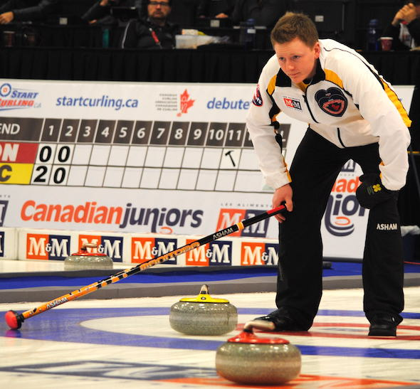 Manitoba skip Braden Calvert picked up his first win of the 2015 M&M Meat Shops Canadian Juniors. (Photo, Amanda Rumboldt)