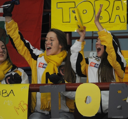 Manitoba fans cheer during Sunday's gold-medal game. (Photo, CCA/Michael Burns)