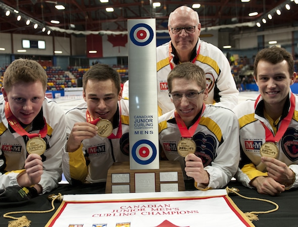 Team Manitoba, 2015 M&M Meat Shops Canadian Juniors gold-medallists, from left, skip Matt Dunstone, third Kyle Kurz, second Lucas Van Den Bosch, lead Brendan Wilson. Top,  coach Tom Clasper. (Photo, CCA/Michael Burns)