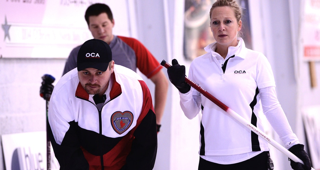 Ontario skip Chris Gardner and lead Jessica Barcauskas in Draw 11 action (Brian Doherty Photography)