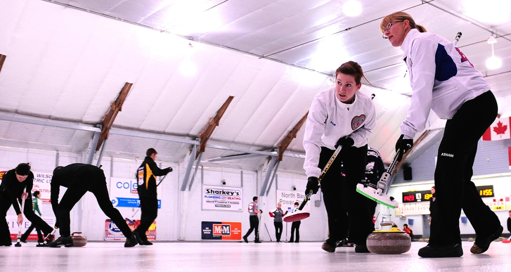 BC's Sarah Wark and Michelle Allen in Draw 12 action (Brian Doherty Photography)
